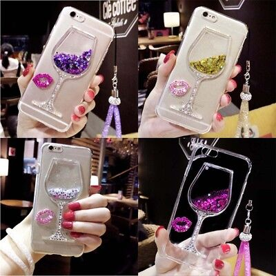 Liquid 3D Wine Glass Cocktail Sequins Bottle Phone Case Cover For Samsung S5-S8