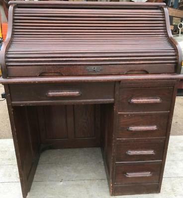 Antique Deco period Lebus Oak Roll Top Tambour Desk Nice condition in St Albans