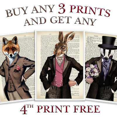 Animal Print Antique Vintage Dictionary Style Page Fox Hare Stag Steampunk Art