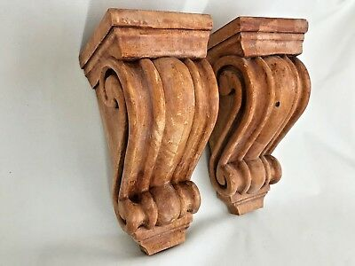 Two   Matching vintage  Cherry Corbels scroll design solid wood 10 1/4x4 1/2