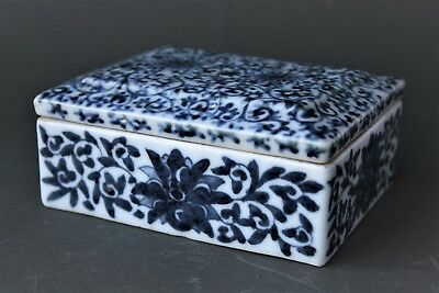 Antique Chinese Porcelain White And Blue Porcelain Box