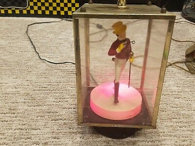 Rare Vintage Johnnie Walker Red Back Bar Lighted Rotating Statue On Compass Base