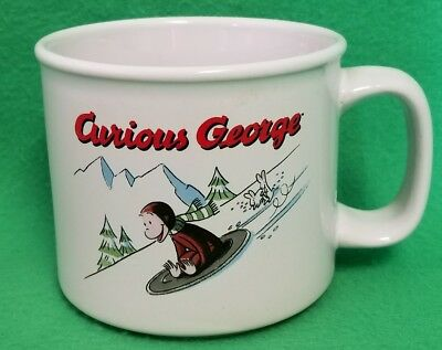Curious George Sledding Cup or Soup Mug - VGC