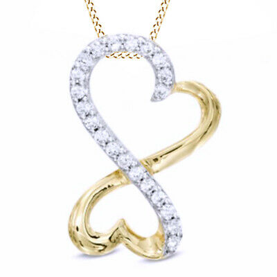 1/10 CT Natural Diamond Infinity Double Heart Pendant in Silver and 14K Gold