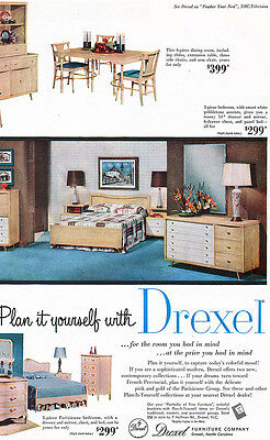 Drexel Furniture PARISIENNE French Provincial BEDROOM Dining Room 1955 PRINT AD