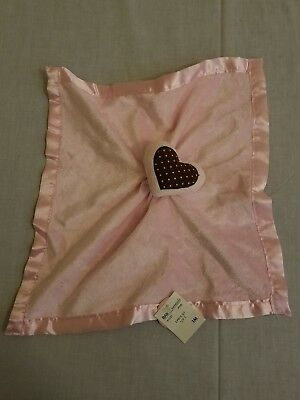 New Baby Essentials Pink Brown Heart Rattle Lovey Security Blanket