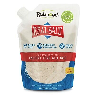 Redmond Real Salt, Ancient Fine Sea Salt, Unrefined Mineral Salt, 26 Ounce Pouch