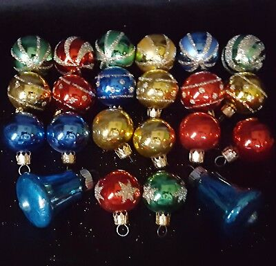 "2 Shiny Brite BELLS + Lot of 20 COLUMBIA 1"" Glass BULB Tree ORNAMENTS Vintage"