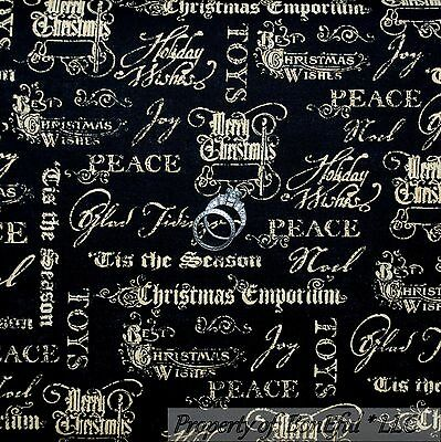 BonEful Fabric FQ Cotton Quilt VTG Black Gold Xmas Word Peace S Religious Calico