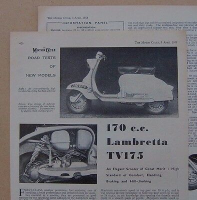 Lambretta TV175 Road Test article from / dated 1958