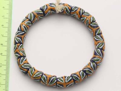 1 Armband blaue Recycling Glasperlen 10x15mm Ghana Krobo Trade Beads Afrika 1766