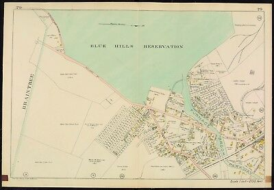 1907 Quincy, Norfolk County Massachusetts Blue Hills Reservation Plat Atlas Map
