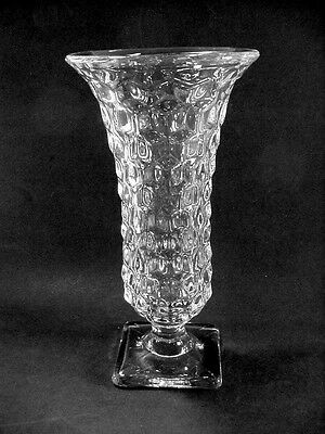 Fostoria American Crystal Clear Square Footed Pedestal Vase -- VERY NICE!