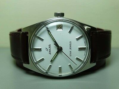 Vintage Enicar Winding Star Jewels Swiss Wrist Watch G497 Old Used Antique White