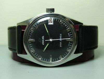 Vintage Enicar Winding Star Jewels Swiss Wrist Watch G517 Old Used Antique Black