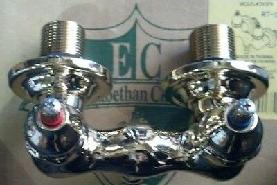 Elizabethan Classics 2V3PB Claw Foot Wall-Mount Leg Tub Faucet in Polished Brass