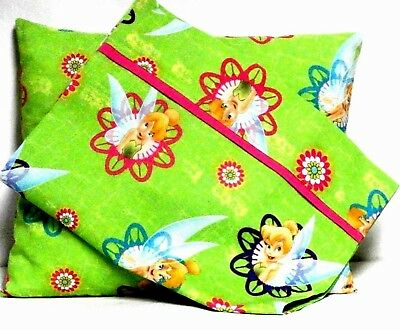 Tinkerbell Toddler Pillow and Pillowcase on Lime Green Cotton TB22 New Handmade