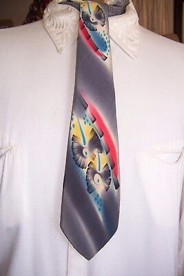 vintage mens ties 1940's hand painted bamboo floral in silk fun