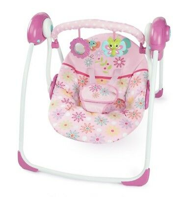 NEW Baby Bright Starts Pretty in Pink Butterfly Cutouts Portable Swing- 6 Speeds
