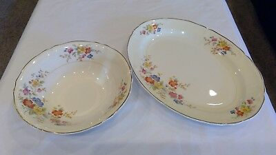 Vintage Edwin M Knowles Semi Vitreous China Oval Plate Soup Bowl 43-8 43-9