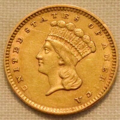 1856 G$1 Type 3 Indian Princess Gold One Dollar, Higher Grade, Nice Looking Coin