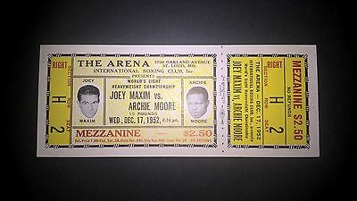 Vintage,FULL ,Original  On site ticket , Joey Maxim v Archie Moore ,1952