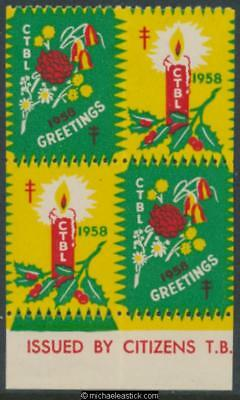 1958 Block of 4 Christmas seals, candle & flowers & CTBL