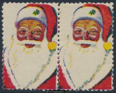1950s pair, Anti TB Appeal Santa Claus Christmas seal