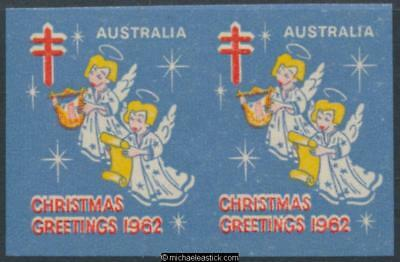1962 Imperf pair Christmas Greetings Australia, Christmas seal