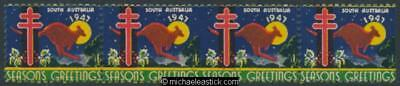 1947 strip of 4 Sth Australia Seasons Greetings Christmas seals