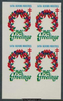 1965 Imperf block of 4, Greetings seals with Sturt desert pea