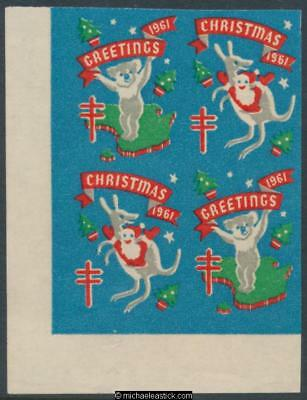 1961 Imperf block of 4 Christmas & Greetings, Christmas seal