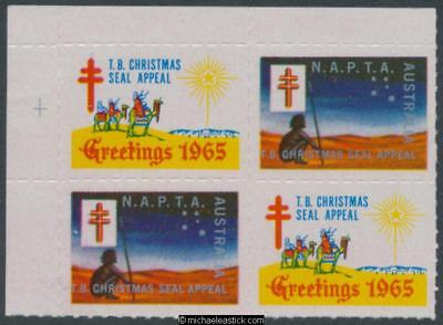 1965 Block of 4 TB Christmas seal appeal, Aborigine & 3 wise men