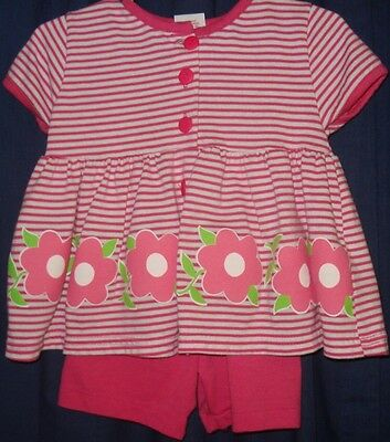Buster Brown 2pc Pink Stripe Top Pink Shorts Flower BG143 2T