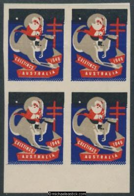 1949 Imperf block of 4 Greetings Australia, Anti TB Christmas seal