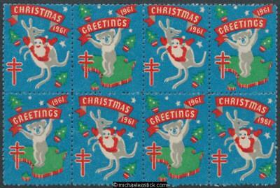 1961 Block of 8 Christmas & Greetings, Koala and Kangaroo Anti TB Christmas seal