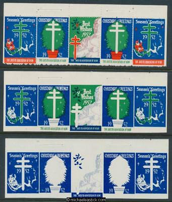 1952 Proof set strip of 5, Anti TB, Seasons Greetings, Chistmas seals