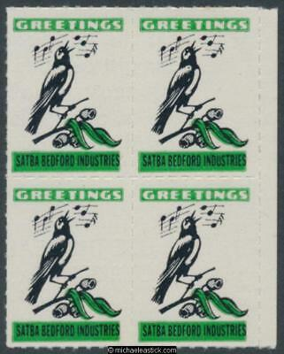 1960 Rouletted block of 4, Greetings seals with singing bird