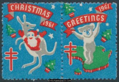 1961 pair, Christmas & Greetings, Koala and Kangaroo Anti TB Christmas seal