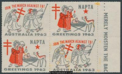 1963 Block of 4, Join the march against TB, NAPTA, Christmas seal