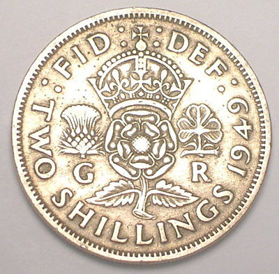 1949 UK Great Britain British Two 2 Shillings Crowned Rose Coin VF+