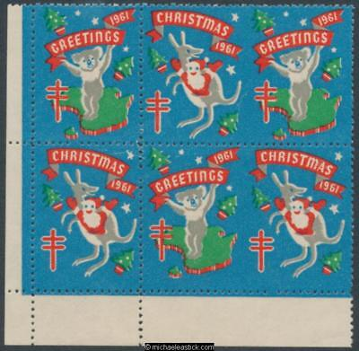 1961 Block of 6 Christmas & Greetings, Koala and Kangaroo Anti TB Christmas seal