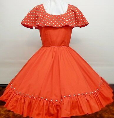 Red And White Dotted Square Dance Dress