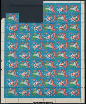 1961 Sheet of 55 Christmas seals - 5 missing, Christmas Greetings,Anti TB