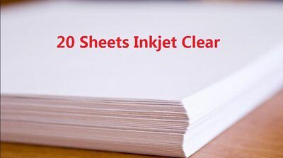 20 Sheets A4 Size Inkjet WaterSlide Decal Paper Sheets Transparent Clear