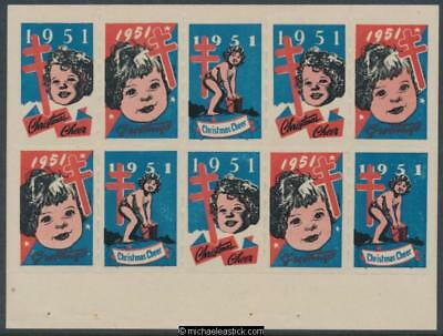 1951 Block of 10, Anti TB Christmas Cheer & Greetings, Christmas seal