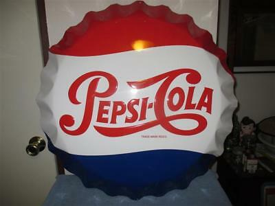 """Large 1990's Pepsi Cola Soda Bottle Cap 27"""" Embossed Metal Sign By Stout Sign Co"""
