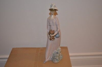 Large Lladro #4893 Woman With Puppy - Retired