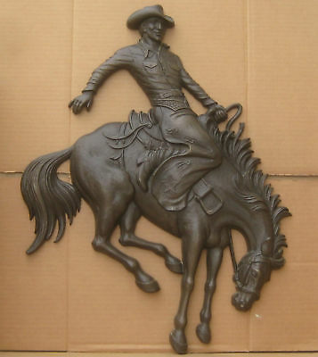 "Western Rodeo Cowboy Bronc Rider Large Wall Plaque 23""x18"" Homco"