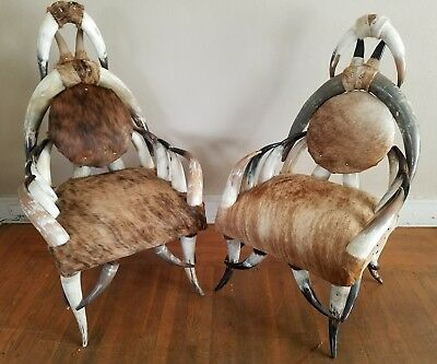 Pair of RARE Texas Steer Horn Arm Chairs w/ Cowhide 28 Horns Each Chair WESTERN
